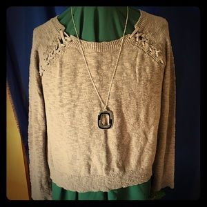 Vintage Maurice's knit top & necklace, so soft~!